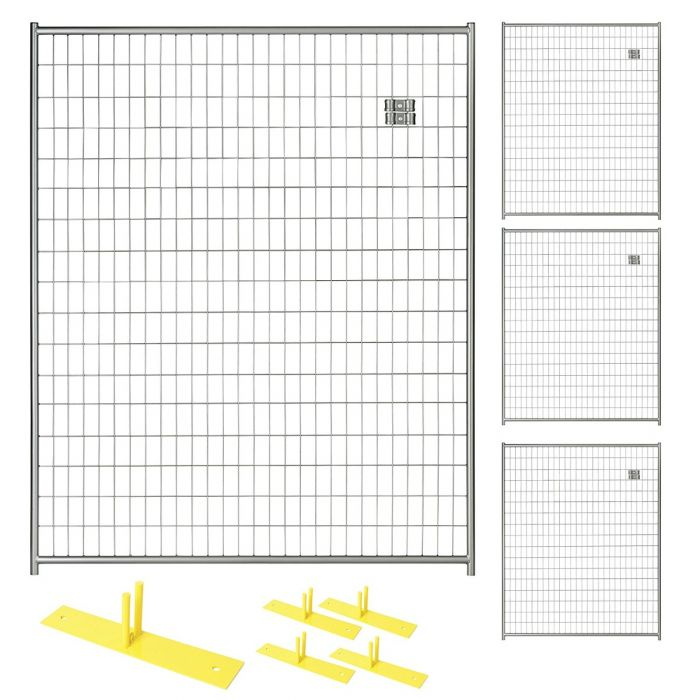 Perimeter Patrol™ Silver Temporary Security Fence Panel Kits