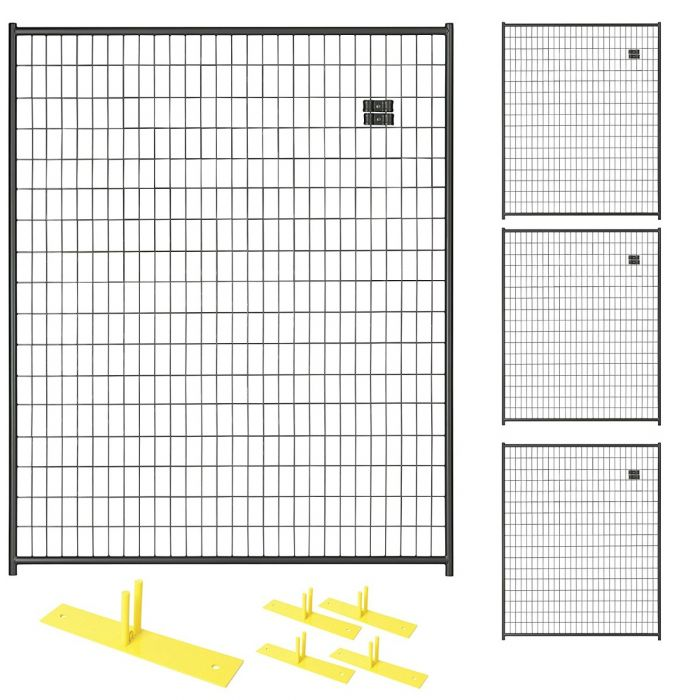 Perimeter Patrol™ Black Temporary Security Fence Panel Kits