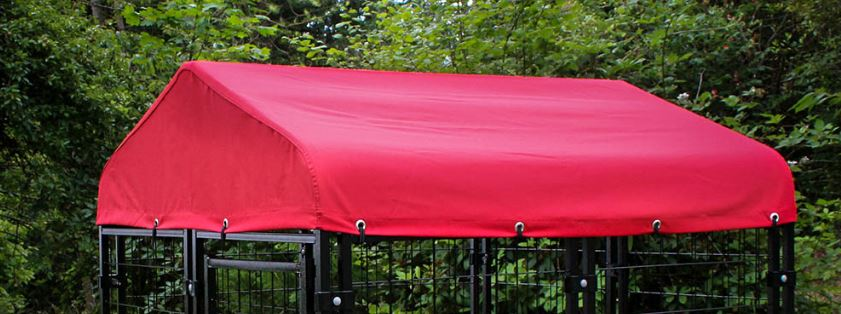 Lucky Dog Canopy™ Kennel Cover with Sunbrella® Fabric - Firehouse Red
